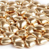 Украшение шоколадное золотое СЕРДЕЧКО, пакет 1 кг.