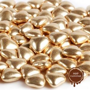 Украшение шоколадное золотое СЕРДЕЧКО (пакет 1 кг.)