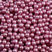 Шарики сахарные розовые 5 мм.металл, 1 кг.
