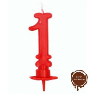 Свеча-цифра 1 красная (короб 12 шт.)