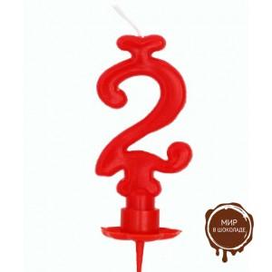 Свеча-цифра 2 красная (короб 12 шт.)