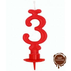 Свеча-цифра 3 красная (короб 12 шт.)