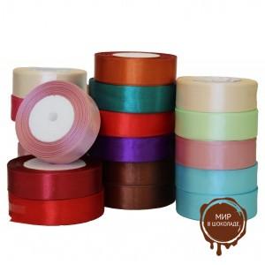 Лента из шелка и атласа в рулоне, цвета в ассортименте, 25 мм.*23 м.