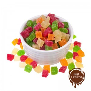 Ананас кубики 3-5 мм цветные, 20 кг.