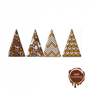 Декор из глазури Ель Треугольник 33*45 мм, 2 цвета серебро-золото, 180 шт.
