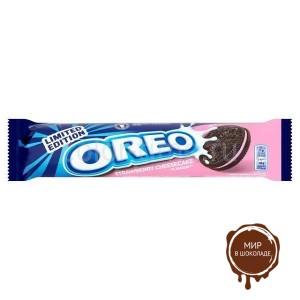 Шоколадное печенье Oreo Strawberry Cheesecake с клубнично-ванильной начинкой 154 гр.
