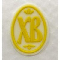 Декор фигурный ХВ яйцо, белый фон с надписью и  рисунком  из желтой глазури, 432 шт.