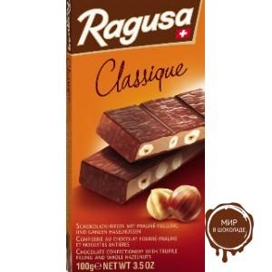 Молочный шоколад Ragusa с трюфельной начинкой и целыми лесными орехами, 100 гр.