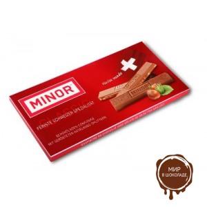 Молочный шоколад MINOR с кусочками фундука, 80 гр.