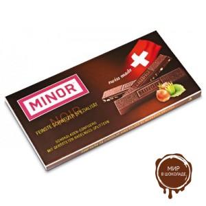Горький шоколад MINOR с кусочками фундука, 80 гр.