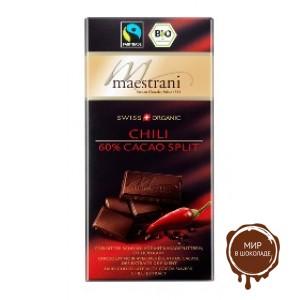 Горький шоколад Maestrani 60% какао с перцем чили, 80 гр.