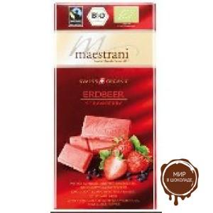 Белый шоколад Maestrani с клубникой и черным перцем, 80 гр.