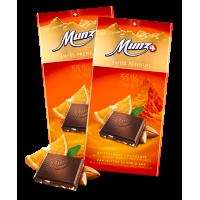 Горький шоколад MUNZ  с апельсином и миндалем, 100 гр.