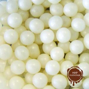 Шарики сахарные белые 6 мм перламутр, 1 кг.