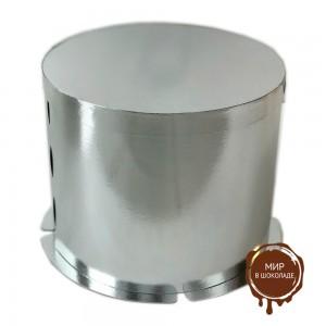 Картонная круглая  коробка- тубус c усиленным дном для тортов,  серебро,  450/142