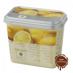 Замороженное пюре в блоке Лимон дробленый 30% сахара Ravifruit, 1 кг